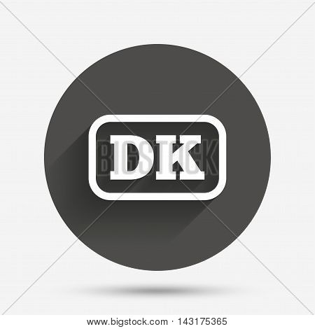 Denmark language sign icon. DK translation symbol with frame. Circle flat button with shadow. Vector