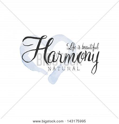Natural Harmony Beauty Promo Sign Watercolor Stylized Hand Drawn Logo With Text On White Background