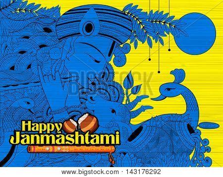 illustration of hindu goddess Radha and Lord Krishna on Janmashtami