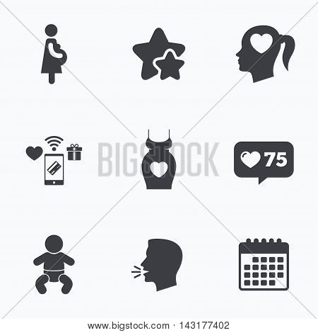 Maternity icons. Baby infant, pregnancy and dress signs. Head with heart symbol. Flat talking head, calendar icons. Stars, like counter icons. Vector