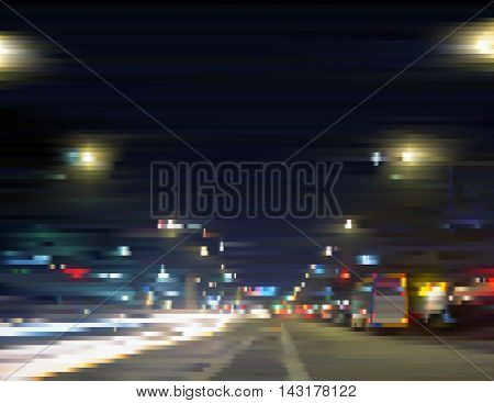 Illuminated city center. Urban streetlights at night. Traffic in motion. Gradient illustration with effect of sliced photo. Background for a poster cover business card invitation banner postcard.