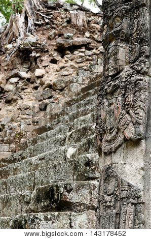 Central America Honduras Mayan city ruins in Copan. The picture presents detail of the Stela P on the West Plaza