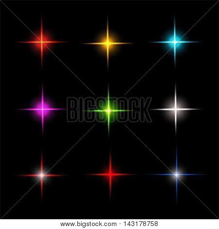 Collection of sparkle vector. Symbols sparkling stars. Set of sparkles star. Sparkle light. Sparkling stars.