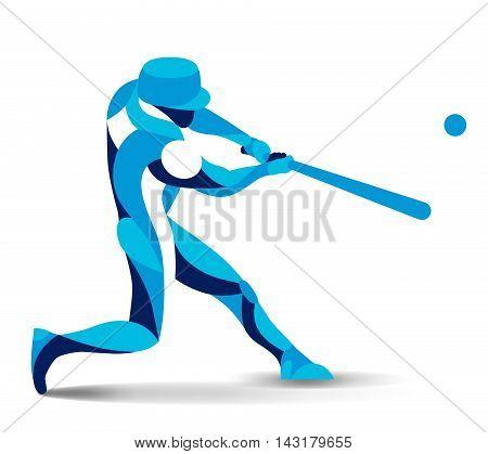 Trendy stylized illustration movement, baseball player, vector silhouette of baseball player