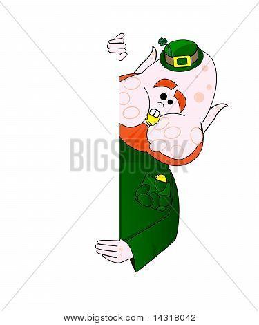 Leprechaun holding sign