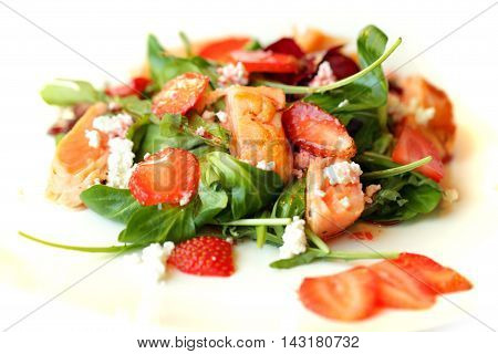tasty Gourmet salad food on white plate