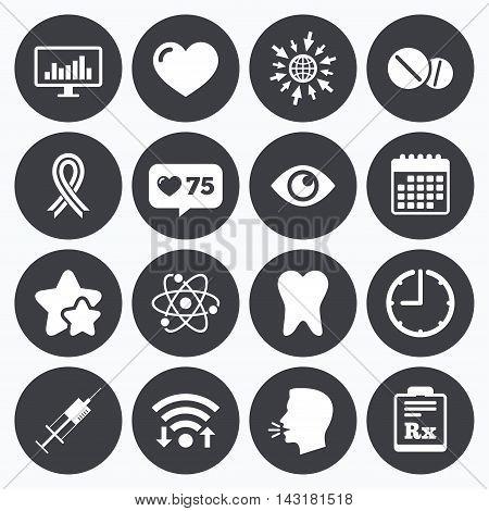Calendar, wifi and clock symbols. Like counter, stars symbols. Medicine, medical health and diagnosis icons. Syringe injection, heart and pills signs. Tooth, awareness ribbon symbols. Talking head, go to web symbols. Vector