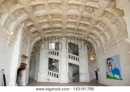 CHAMBORD FRANCE - MAY 07 2015: The double helix open staircase of the Chateau de Chambord Loir-et-Cher France
