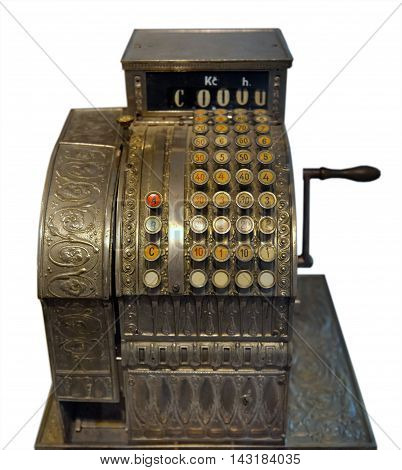 The old mechanical cash register with whirling handle. Isolated.