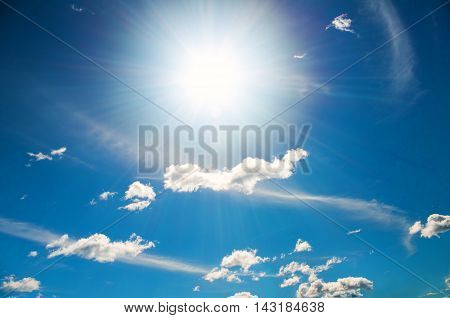 sun in a bright blue sky. Nature composition.