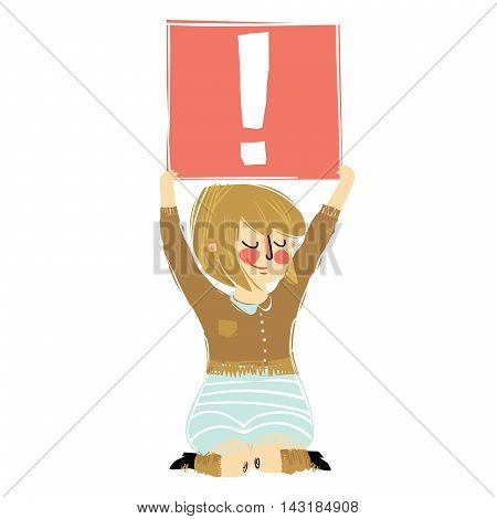 Cartoon girl holding the exclamation point vector doodle cartoon