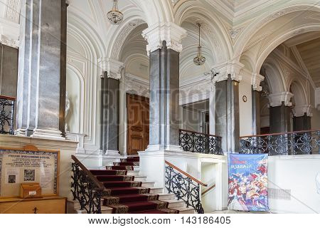 ST. PETERSBURG, RUSSIA - AUGUST 08, 2016: Interior Nicholas Palace (palace of Grand Duke Nikolai Nikolaievich of Russia), the main entrance staircase, built in 1853-1861 by architect Stackensneider