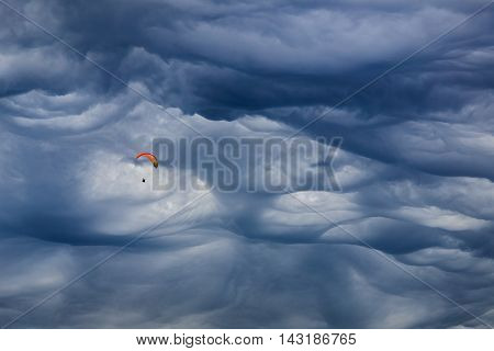 Mammatus cloud above the city of Chamonix. Mont Blanc France