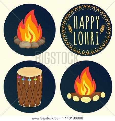 Creative icons for Happy Lohri celebration. Popular harvest India festival. Happy Lohri Festival