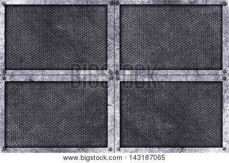 grunge metal background. rivet on metal plate with black grille. material design 3d illustration.