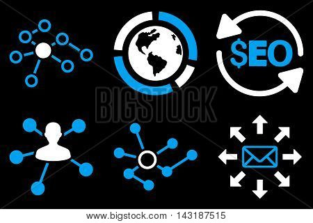 Seo Link Building vector icons. Pictogram style is bicolor blue and white flat icons with rounded angles on a black background.