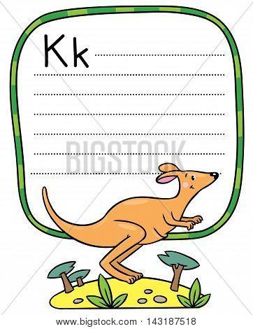 Little Kangaroo, Illustration For Abc. Alphabet K