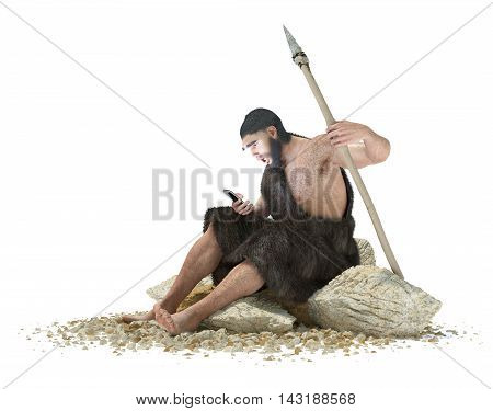 primitive man with smartphone on isolated white concept 3d illustration