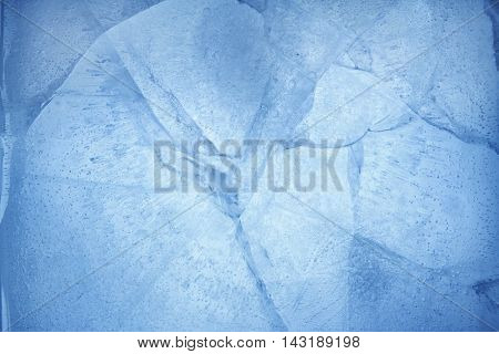 Closeup of cracked blue ice