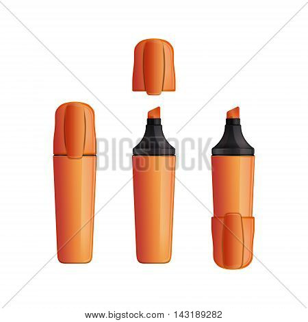 Set orange indoor and outdoor marker with cap. Felt pen. Felt-tip pen. Vector illustration isolated on white background