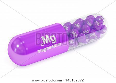 Capsule with magnesium Mg element Dietary supplement 3D rendering isolated on white background
