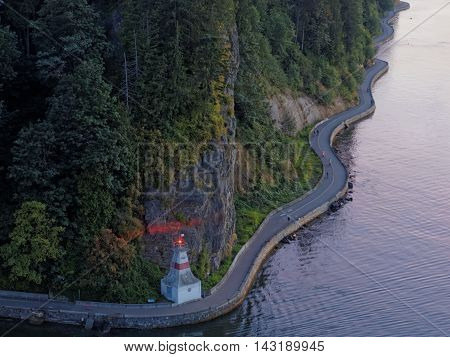 View of Stanley Park Seawall From Above, Vancouver, British Columbia, Canada