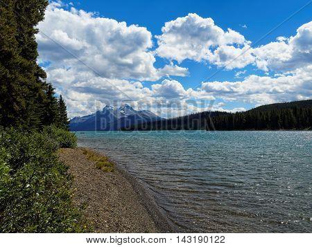 Turquoise Lake Maligne on a Sunny Day