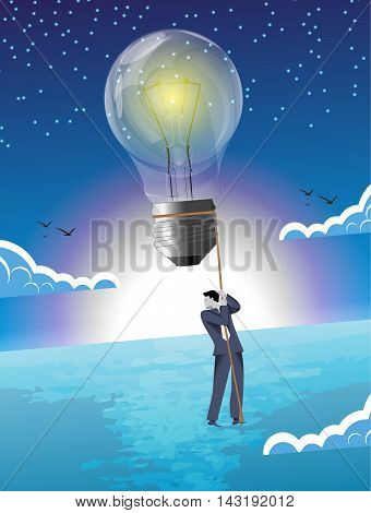 Over the horizon business concept. Young confident businessman flying high in the sky on light bulb. Concept of bright idea that can raise company very high.