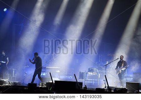 Bontida, Romania - July 17, 2016: Singer Dan Smith of english band Bastille singing during a live performance at Electric Castle festival