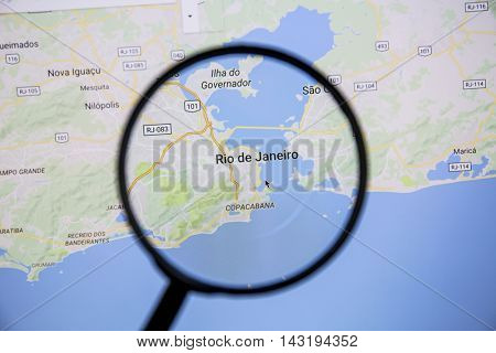 Ostersund, Sweden - Aug 14, 2016: Rio de Janeiro on Google Maps under a magnifying glass. Rio de Janeiro is the capital of the state of Rio de Janeiro,