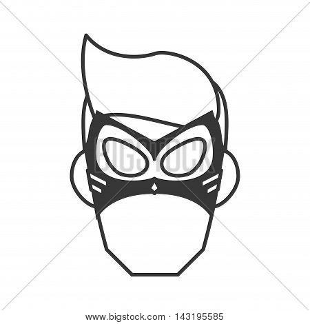 mask costume face superhero superman hero cartoon anime male icon. Flat and Isolated illustration. Vector illustration