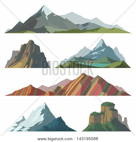 Different mountain vector illustration. Set of mountain silhouette elements. Outdoor icon snow ice mountain tops, decorative isolated. Camping mountain landscape travel climbing or hiking mountains
