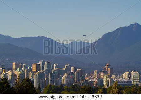 Vancouver B.C. and the north shore mountains.