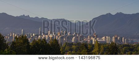 A panorama of downtown Vancouver.  This is looking north from Queen Elizabeth Park.