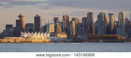 A panorama of Vancouver B.C. from North Vancouver.