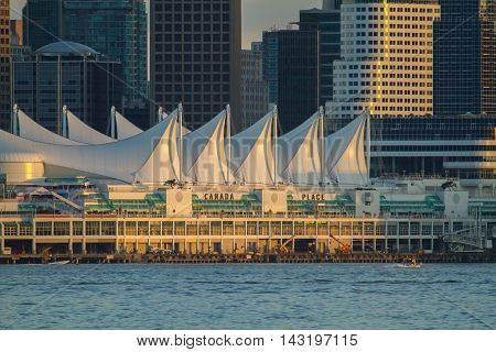 Canada Place sits on Vancouver Harbour.  The architecture is meant to resemble the sails of a ship.