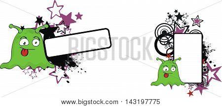 funny monster cartoon copyspace set in vector format very easy to edit