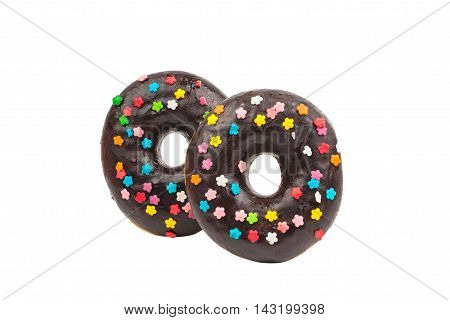 chocolate donut dessert on a white background