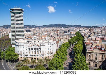Ramblas pedestrian street in the center of Barcelona. Landmark of Barcelona. Airview on the Rambla.