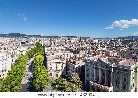 Aerial view of La Rambla of Barcelona, Spain