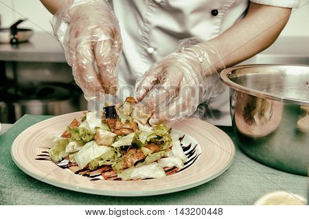 Chef is cooking appetizer at commercial kitchen, toned image
