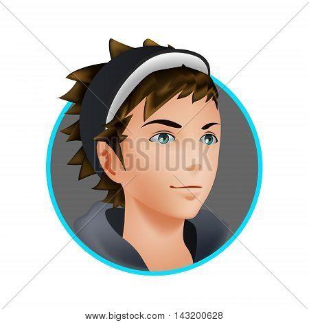 Ash Ketchum in blue frame. Avatar profile man