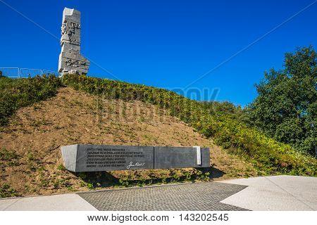 GdanskPoland-September 192015:Westerplatte. Monument commemorating first battle of Second World War and Polish Defense in 1939