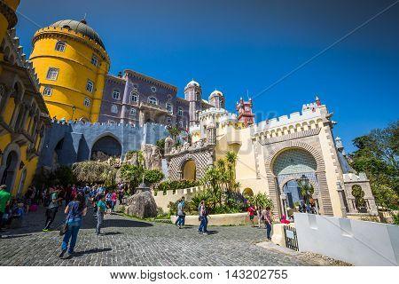 Sintra Portugal - April 13 2015:The Pena Castle in Sintra Portugal