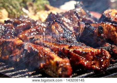 BBQ Grilled pork ribs on the grill.