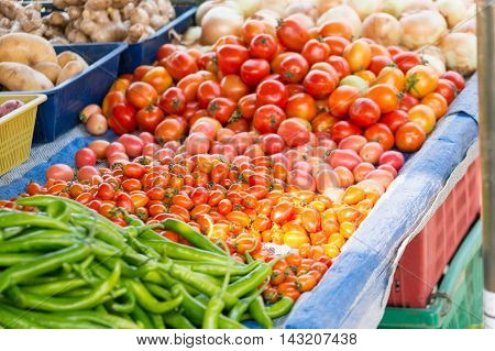vegetable in flash market of thailand. tomato.