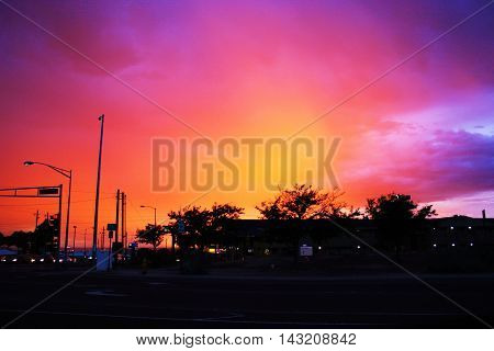 Sunset over Albuquerque, New Mexico in the summer.