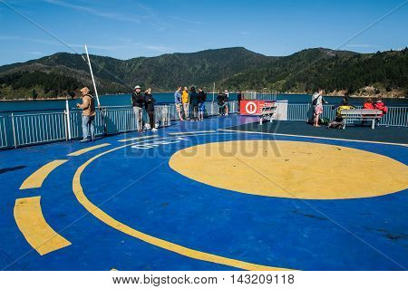 Cook Strait New Zealand - February 4 2016: Passengers on ferry traveling from Wellington to Picton via Marlborough Sounds New Zealand