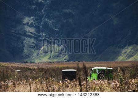 Landscape in valley with group of adventure, adventure journey concept