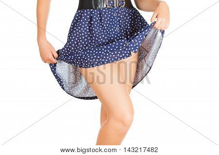 Legs Of Beautiful Model Covered With Short Preaty Skirt.